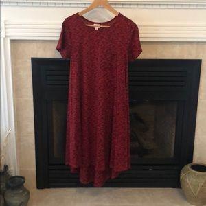 Lularoe Carly dress. EUC. Red with black. Sz. XS